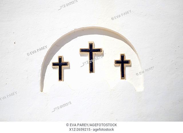 The three crosses of the church of El Pilar of La Mola. Formentera (Balearic Islands)
