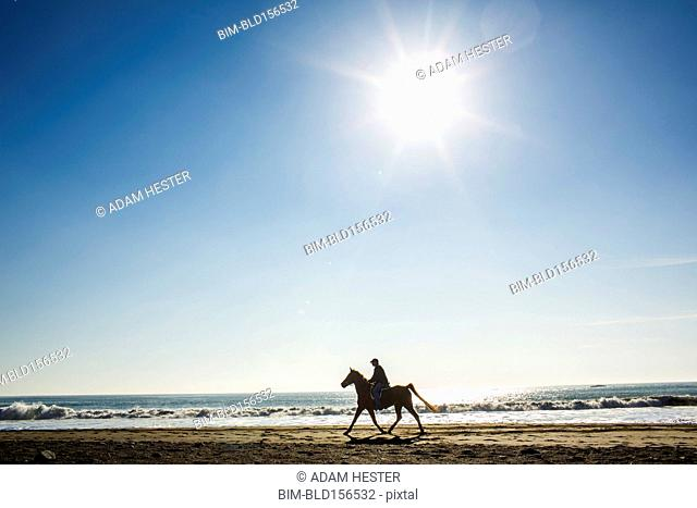 Horseback rider on beach
