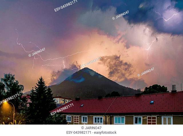 Thuderstorm. Lightning in the city Ruzomberok, Slovakia