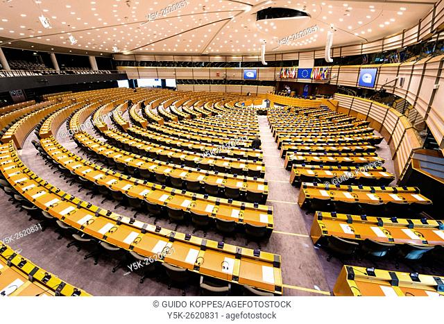 European Parliamant, Brussels, Belgium. Main, plenary conference hall of the European parliament