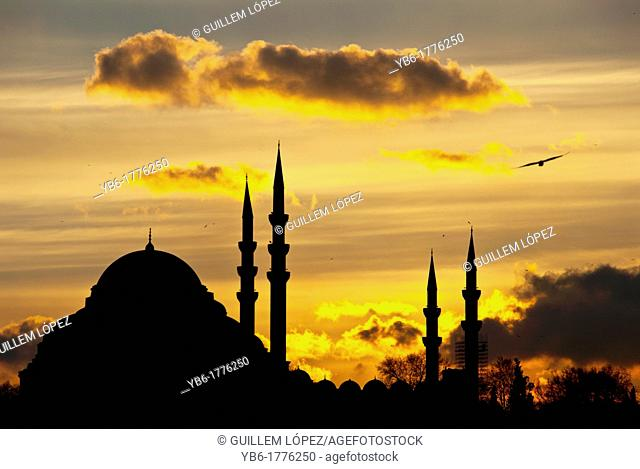 Silouhette of the Suleymaniye Mosque at sunset, Istanbul, Turkey