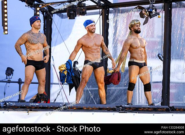 Sixx Paxx strip show live at the BonnLive car concert series in the drive-in cinema. Bonn, June 21, 2020   usage worldwide