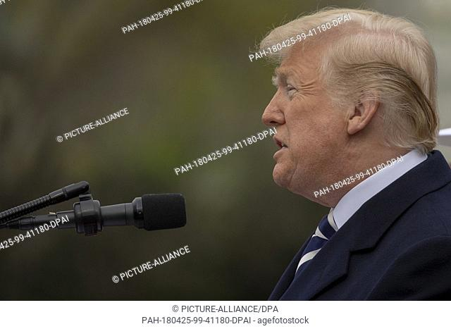 United States President Donald J. Trump speaks on the South Lawn of the White House during the French State Visit to the United States on April 24