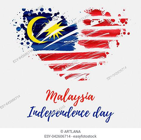 Malaysia Independence day background. With painted flag of Malaysia in grunge heart shape. Hari Merdeka holiday. Template for poster, banner, flyer, invitation