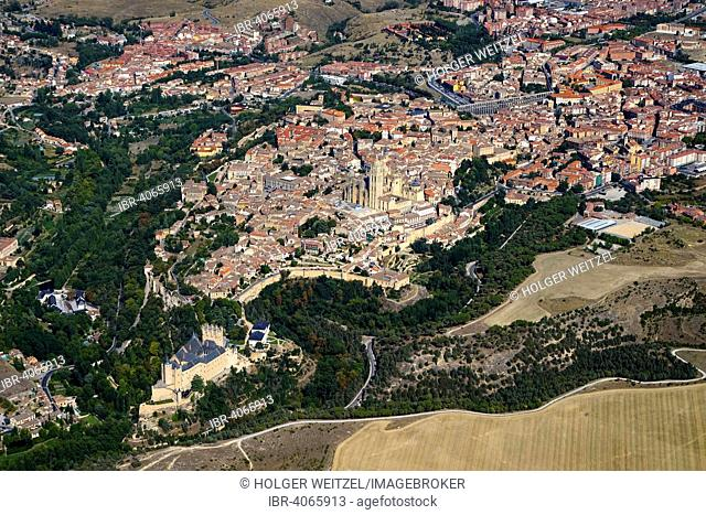 Aerial view of Segovia form the Alcazar to the aqueduct, Segovia, Castile and León, Spain