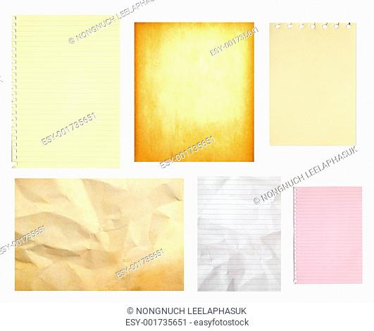 set of paper isolated