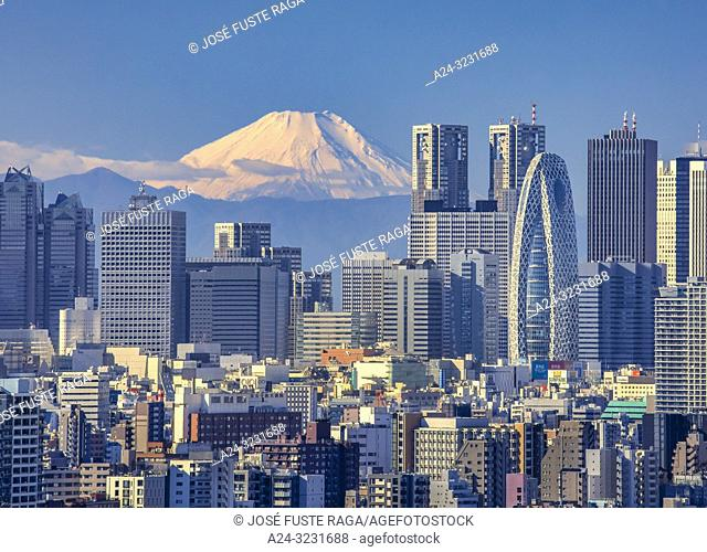 Japan, Tokyo City, Shinjuku Skyline and Mount Fuji