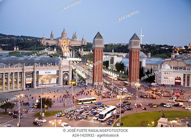 Montjuich National Palace and fountains, Venetian Towers, Plaça d'Espanya square, Barcelona, Catalonia, Spain
