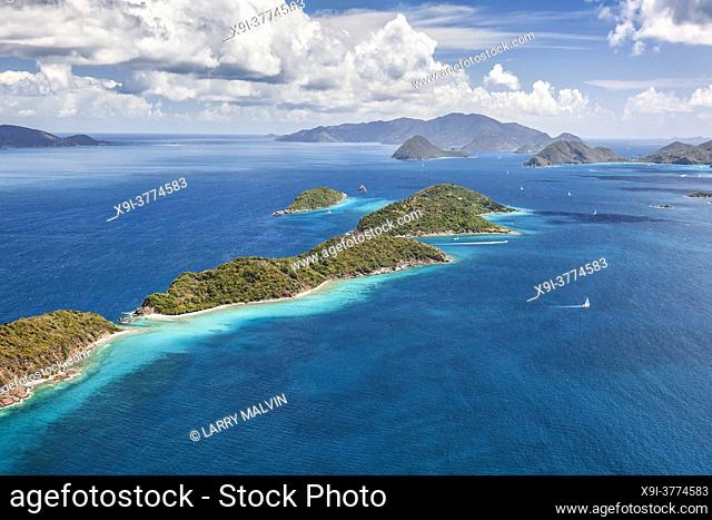 Aerial view of Mingo and Lovango cays near the island of St. John in the United States Virgin Islands