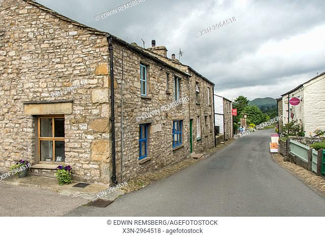 Street lined with quaint stone houses, Dent, Yorkshire, England