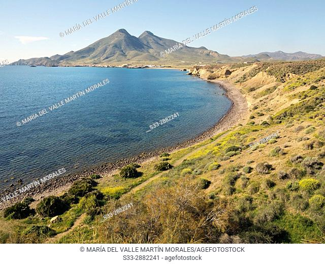 Arco beach in Cabo de Gata from La isleta. Almeria. Andalucia. Spain. Europe