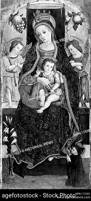 Madonna and Child Enthroned with Two Angels and a Donor. Artist: Vittore Crivelli (Italian, Venice, active by 1465-died 1501/2 Fermo); Date: 1481?; Medium:...