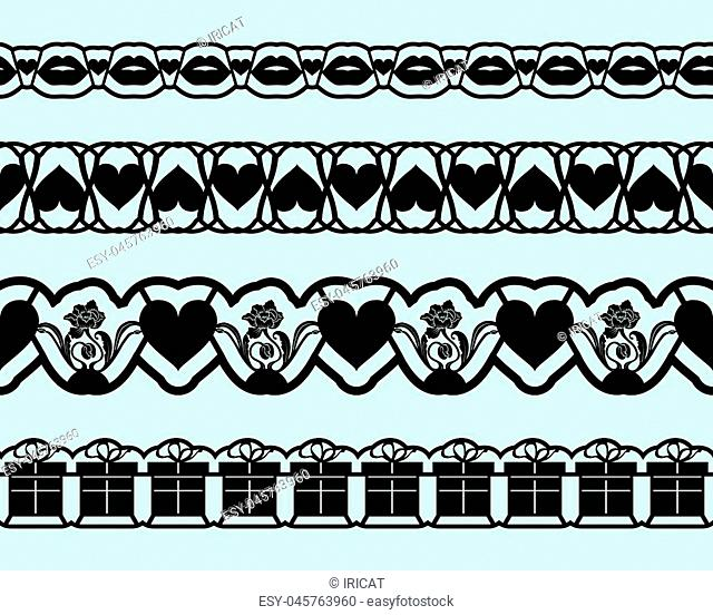 Laser cutting template borders for design cards invitations, interior decorating, elements embellishment. Set of seamless lace tapes for Valentines day