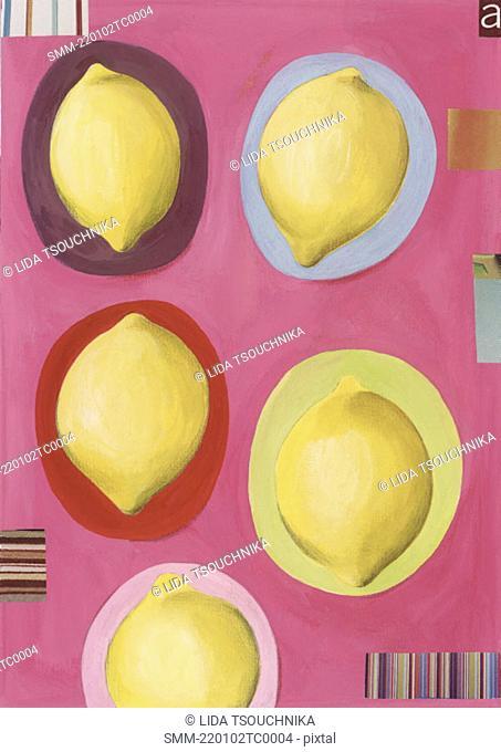 Five lemons in colored circles