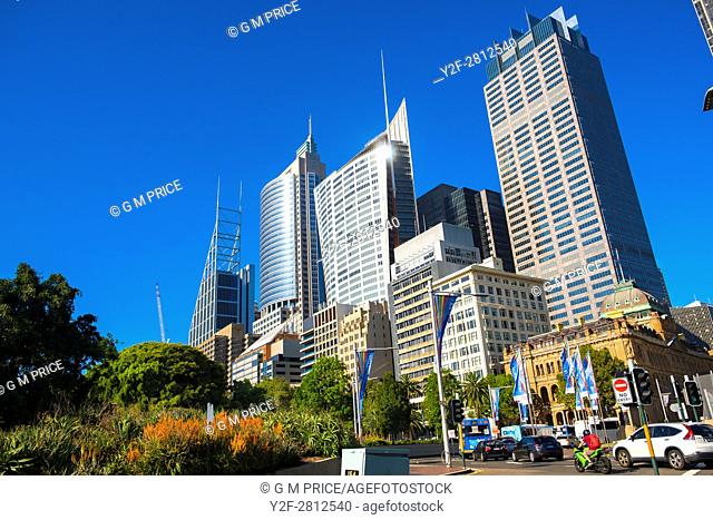 morning traffic and high rise buildings along Macquarie Street, Sydney