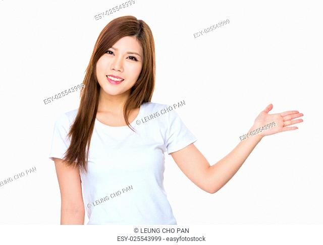 Woman with hand showing a blank sign for product selling