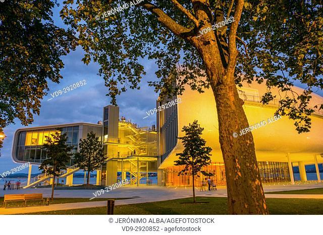 Dusk, Botin Center Museum Art and Culture. Botin Foundation, architect Renzo Piano. Santander, Cantabrian Sea, Cantabria, Spain, Europe