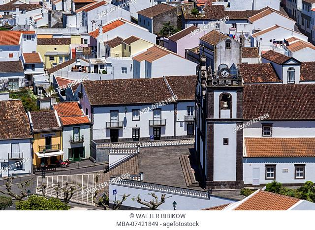 Portugal, Azores, Sao Miguel Island, Agua de Pau, elevated town view from Monte Santos