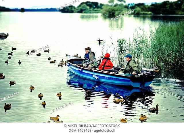 Fishing in Leane Lake near Ross Castle  Killarney National Park  County Kerry, Ireland