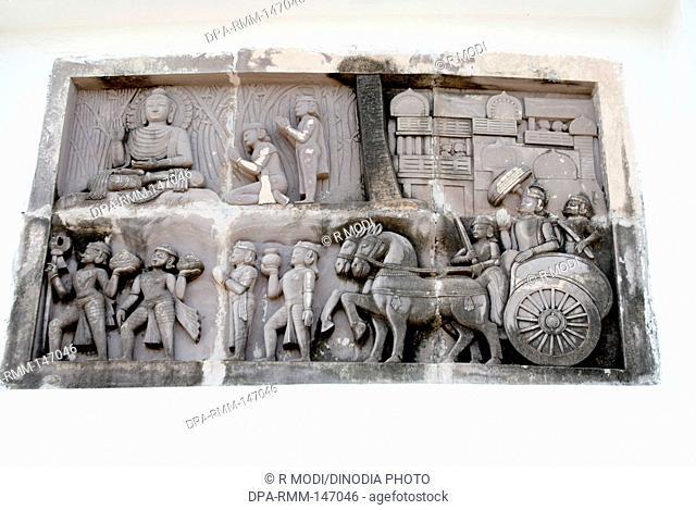 Idol of lord Buddha ; Shanti stupa ; Dauli hill ; Bhubaneswar ; Orissa ; India