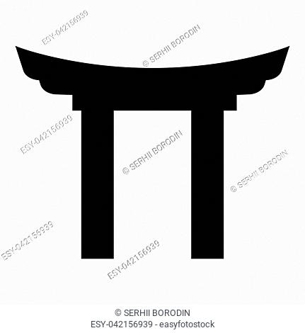 Chinese Gate icon black color vector illustration flat style simple image