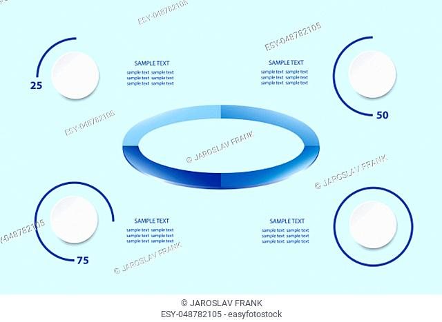 Infographic as ellipse in blue color shades in the center of the vector and circles showing quarter, half, three quarters, and full result of performance