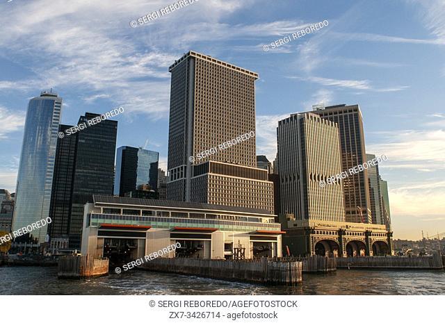 New York, New York City. Downtown New York harbor city skyline