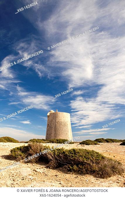 Watchtower of Ses Portes in Natural park of Ses Salines in Sant Francesc de S'Estany, Ibiza, Illes Balears, Spain