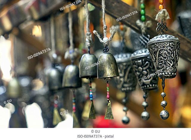 Close up of traditional Chinese wind chimes, Lijiang, Yunnan, China