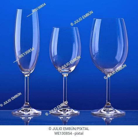Bohemian crystal glasses. Aligned and backlit