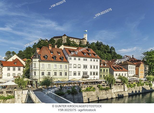 View from the old town of Ljubljana over the bridge Ribja brv (fish-pier) and over the river Ljubljanica to the castle of Ljubljana