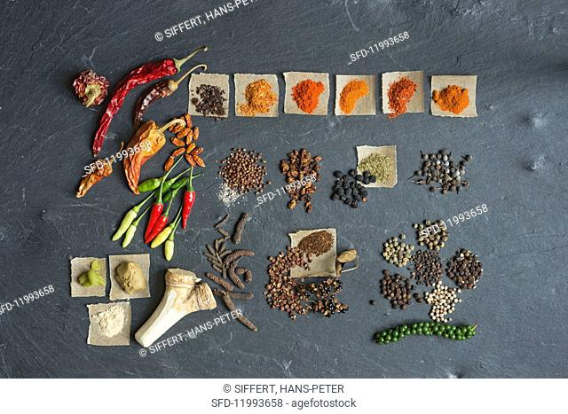 An arrangement of pepper, chilli and other hot spices