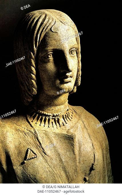 Italic civilization, 5th century b.C. Latins civilization. Terracotta bust of a woman. From Lavinio, Lazio Region, Italy