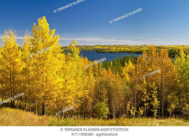 Sealy Lake with fall foliage color along Highway 106 in rural Saskatchewan, Canada