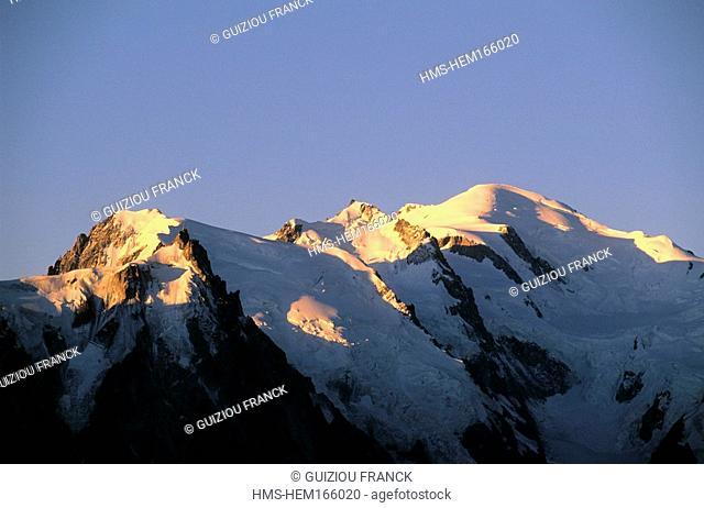 France, Haute Savoie, Aiguille du Midi and the Mont Blanc summit