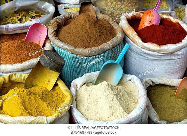 Spice market in the medina of Marrakech, Morocco