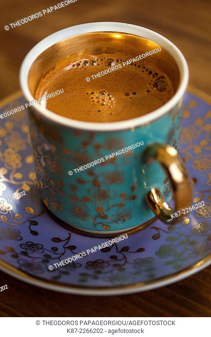 A cup of greek coffee at a cafe in Nafplion town. Argolis, Peloponnese, Greece