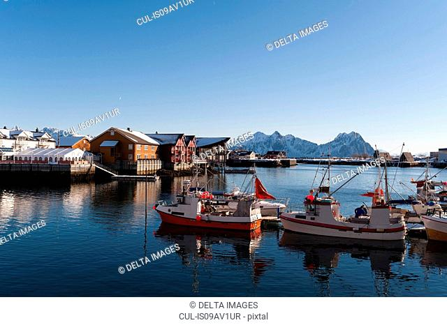 Fishing boats in harbour, Svolvaer, Lofoten Islands, Norway