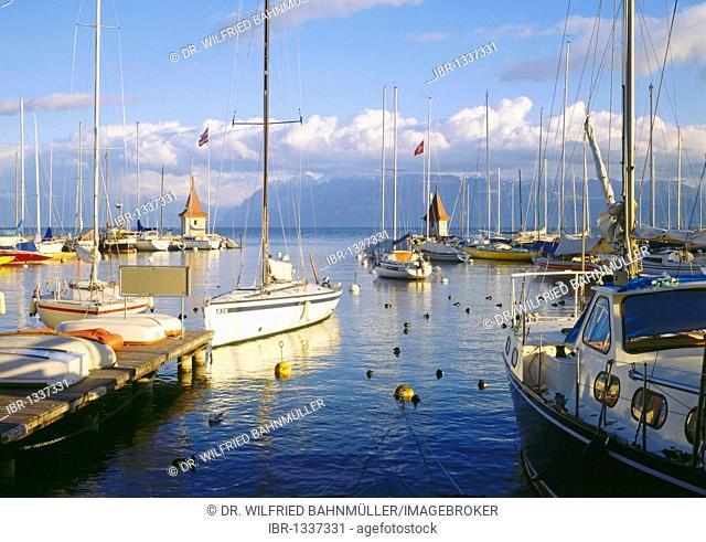 Marina, Morges, Lake Geneva, Canton of Vaud, Switzerland, Europe