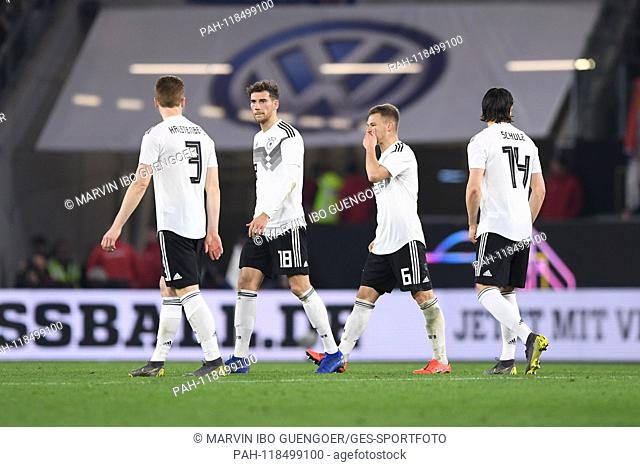 Miroslav Bogosavac (Serbia), Leon Goretzka (Germany), Joshua Kimmich (Germany) and Nico Schulz (Germany) disappointed, disappointment after the end of the game