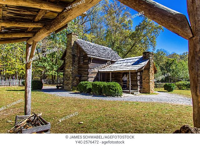 Historic Mountain Farm Museum in Oconaluftee area of Great Smoky Mountains National Park in North Carolina
