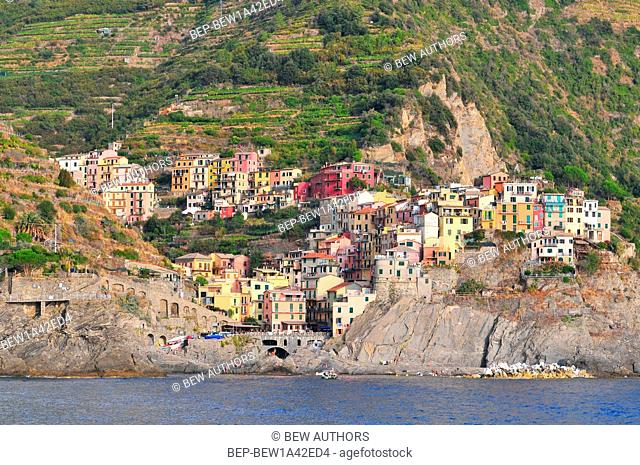 View from the sea to Manarola, Cinque Terre, Liguria, Italian Riviera, Italy, Europe
