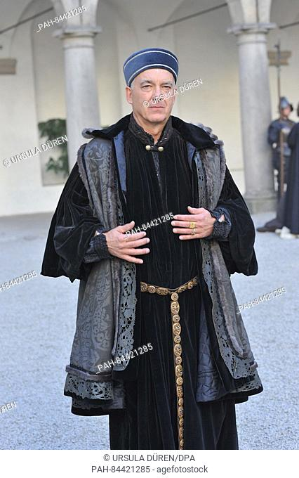 """Actor Christoph M. Ohrt (as Fuerst Fugger) pictured during filming of the SAT.1 historical drama """"""""Die Ketzerbraut"""""""" (lit"""