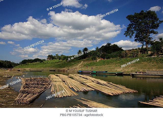 Floating bamboo rafts on the Sangu river Bandarban, Bangladesh December 2009