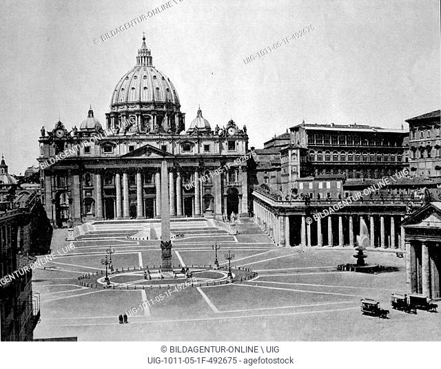 One of the first autotype photographs of st. peter's square in rome, italy, circa 1880