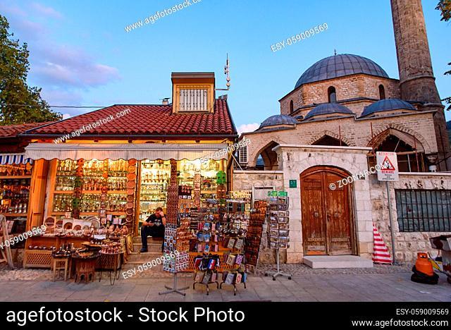 Street view of Stari Grad, the old city of Sarajevo in Bosnia and Herzegovina