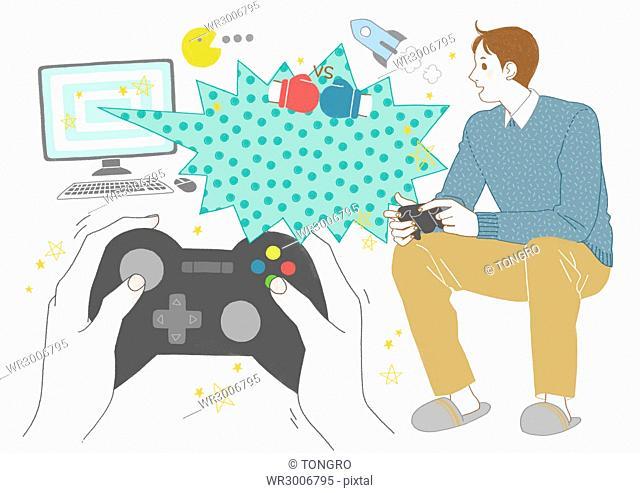 Man enjoying video games