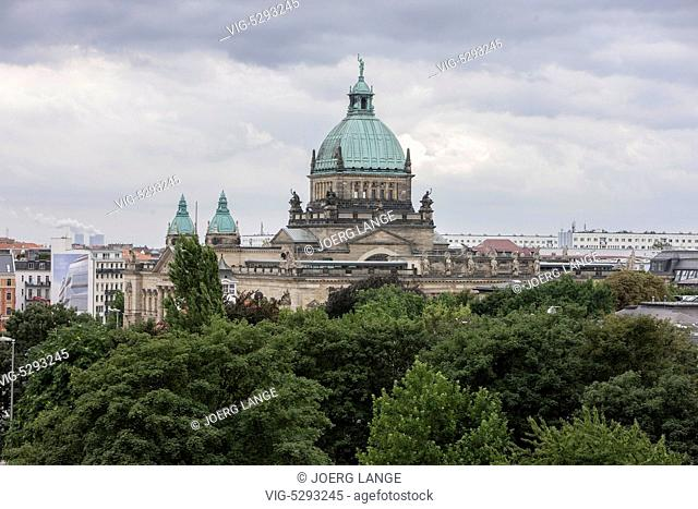 Federal Administrative Court in Leipzig at day with an cloudy overcast sky and a park in the foreground.- - LEIPZIG, Germany, 21/09/2010