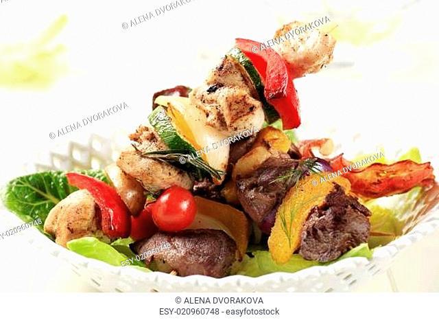 Grilled shish kebabs