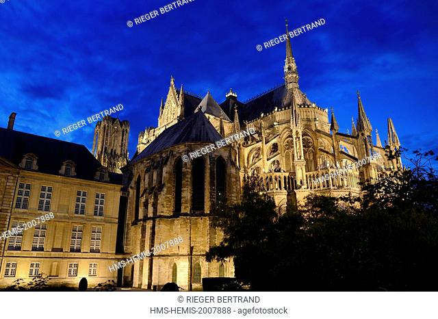 France, Marne, Reims, Notre Dame de Reims cathedral, listed as World Heritage by UNESCO, exterior view of the chevet
